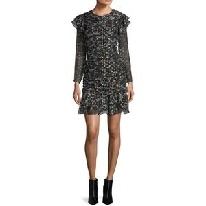 Veronica Beard Parc Ruched Floral Ruffle Dress 4